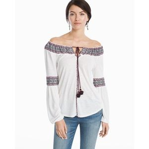 WHBM | Off-the Shoulder Embroidered Top